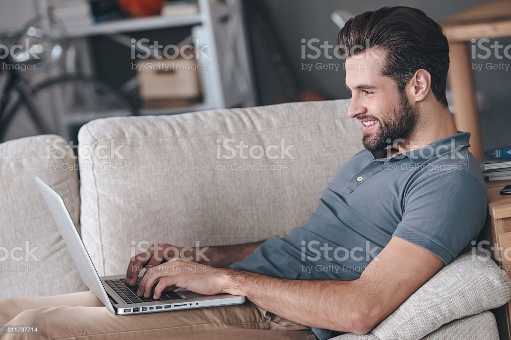 Typing new blog post. stock photo