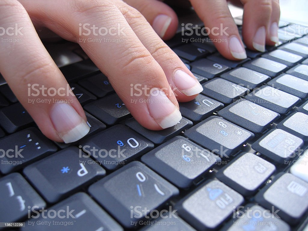 Typing on a Computer Keyboard (Close up) royalty-free stock photo