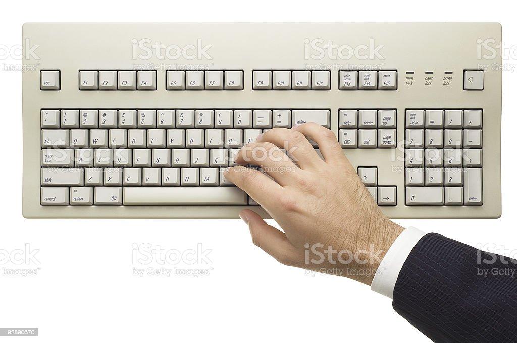 Typing on Keyboard stock photo