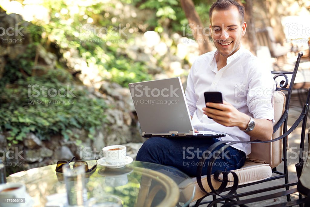 Typing on the smartphone stock photo