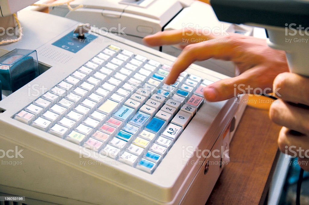 typing the price royalty-free stock photo