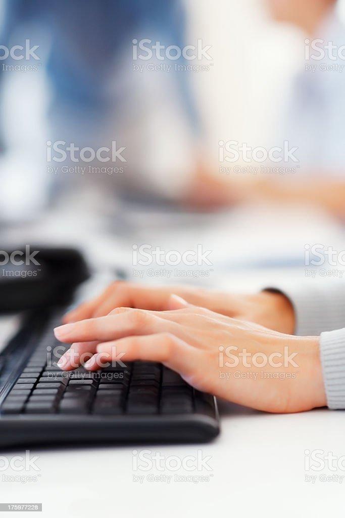 Typing work stock photo