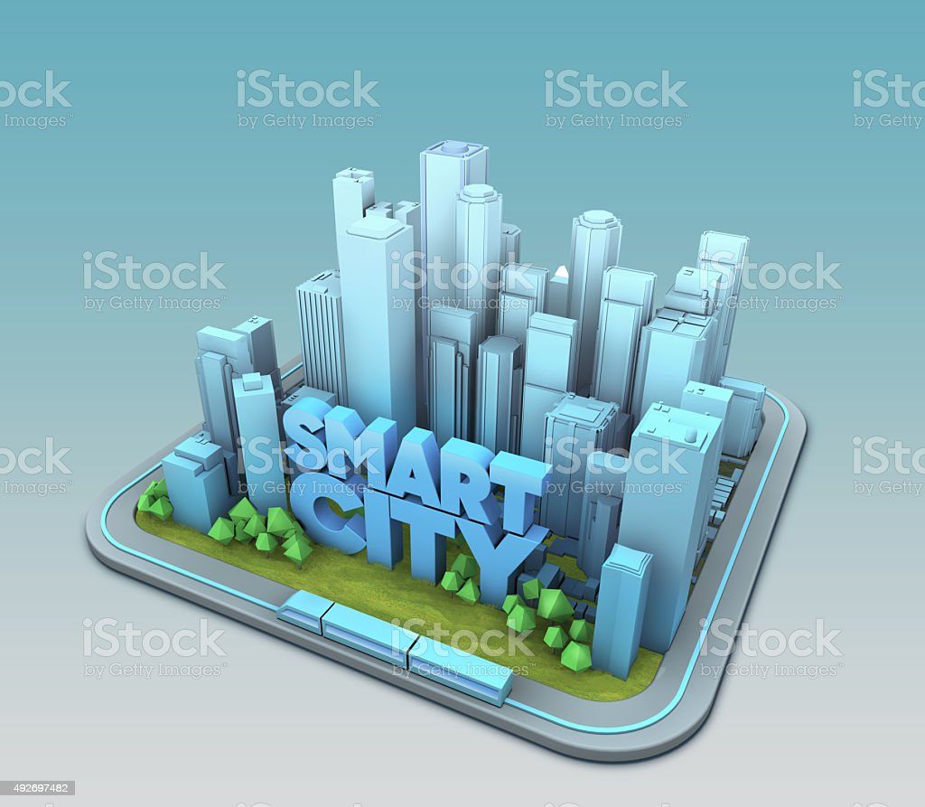 Typographic smart city with clean enviroment stock photo