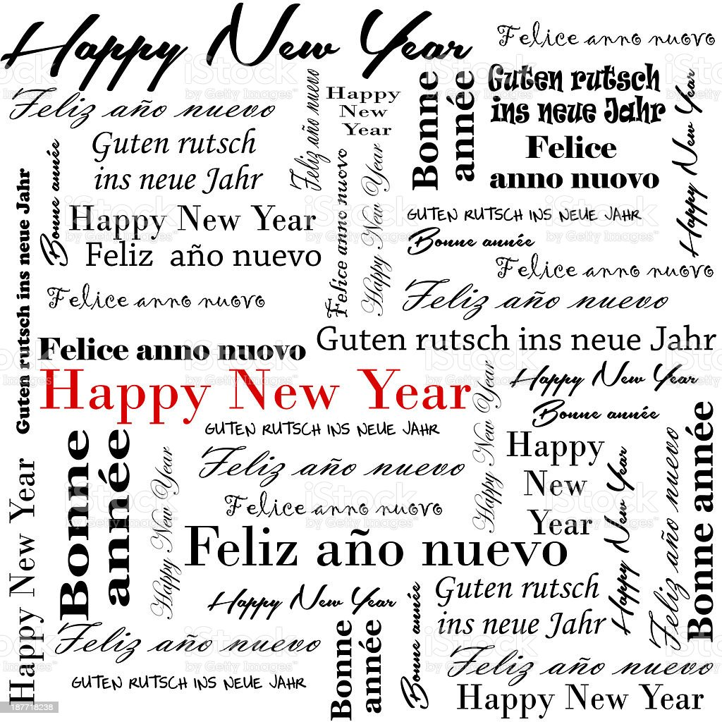 typography happy new year words in many languages stock photo