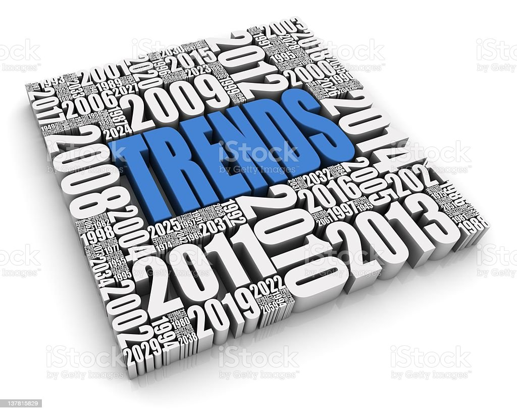 Typography rendition of trends throughout the years  stock photo