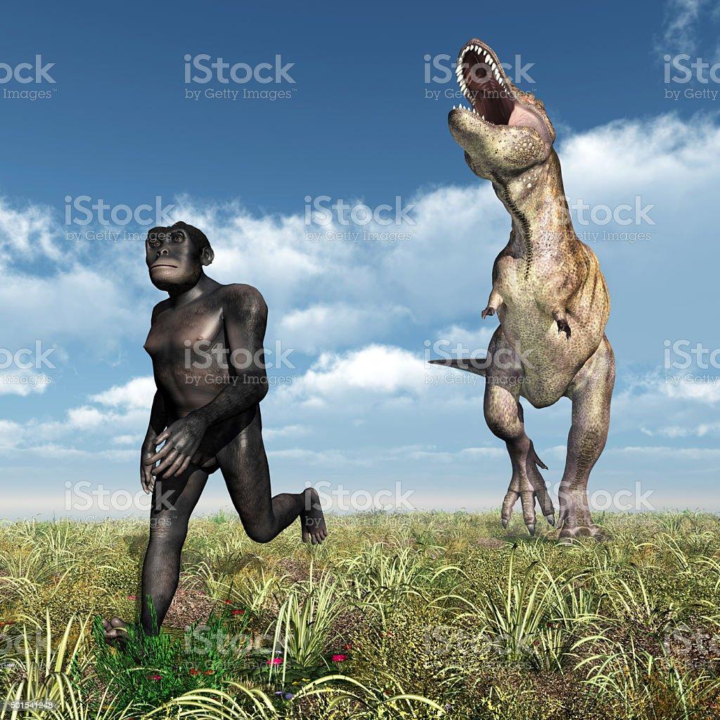 Tyrannosaurus Rex attacks Homo Habilis stock photo