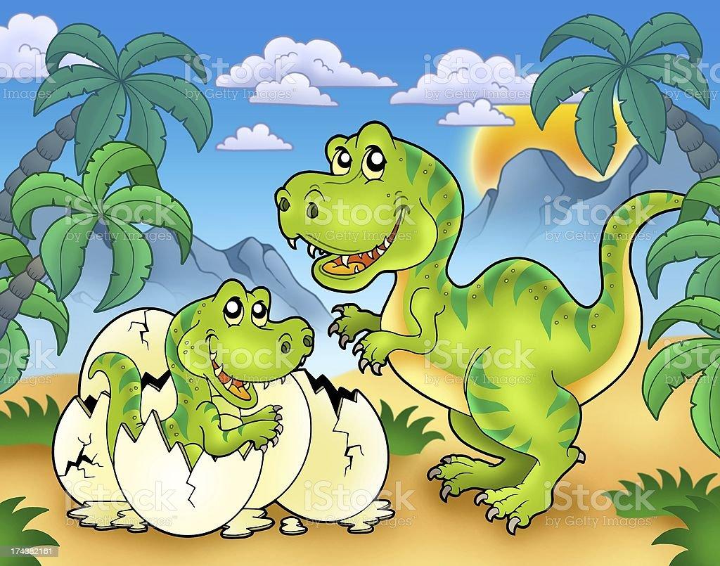 Tyrannosaurus rex in landscape royalty-free stock photo