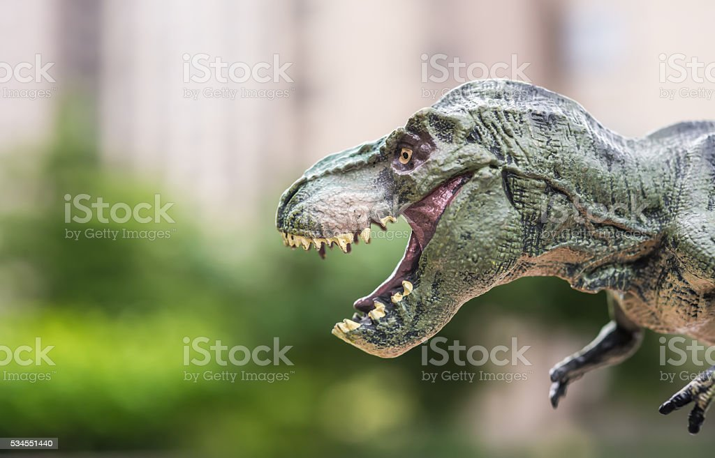 tyrannosaurus toy in front of trees and a morden building stock photo