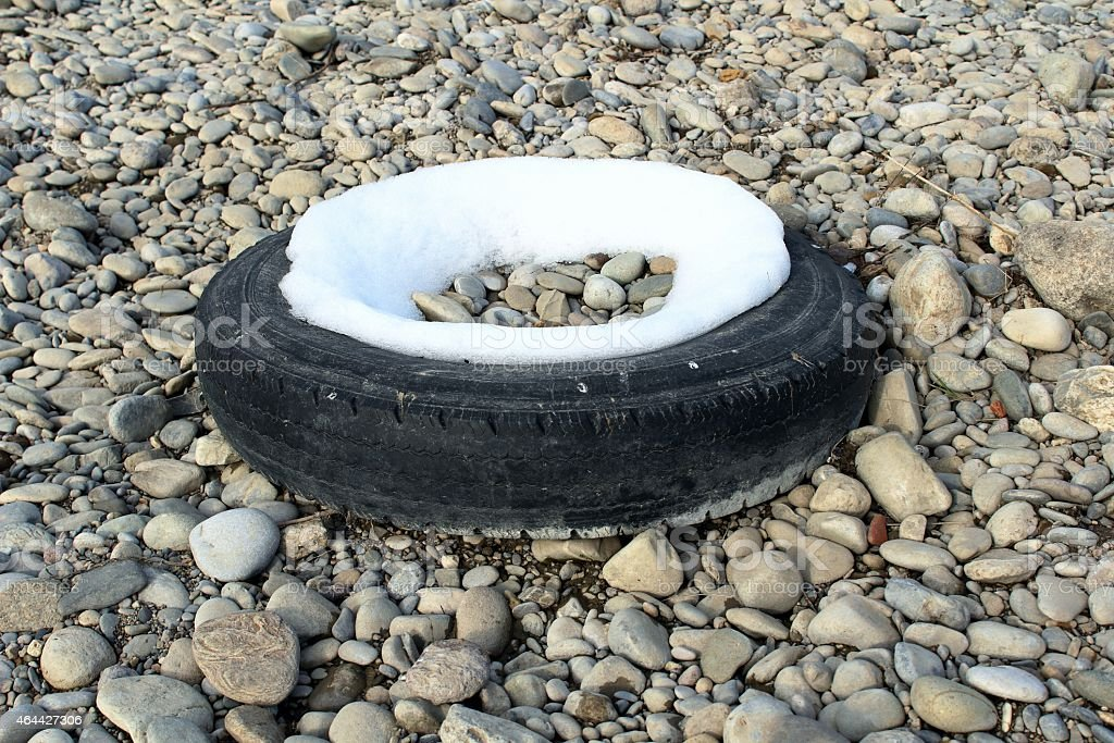 Tyre abandoned stock photo