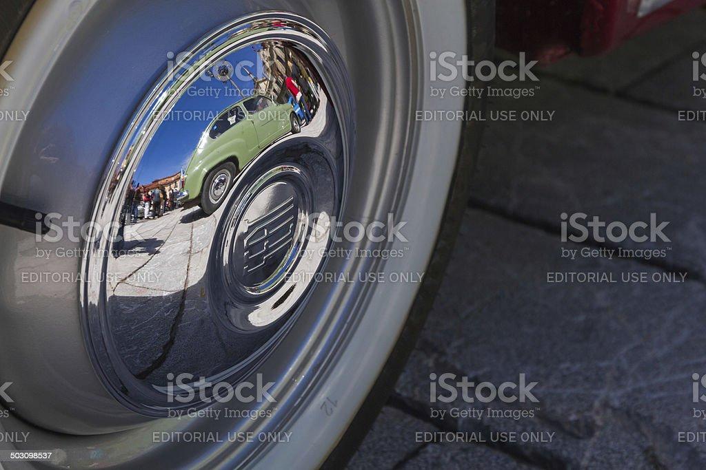 Tyre seat 600 - Rueda de coche Seat 600 stock photo