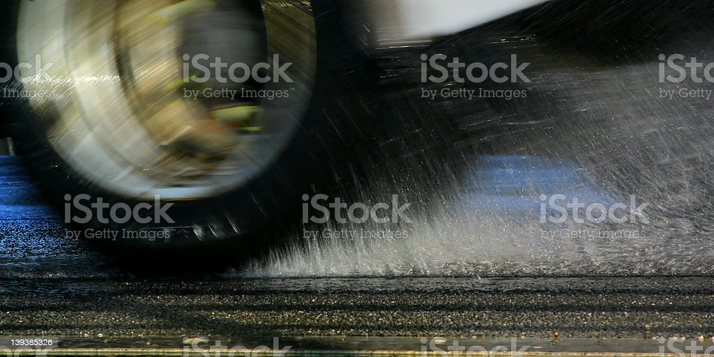 Tyre spray pickup stock photo