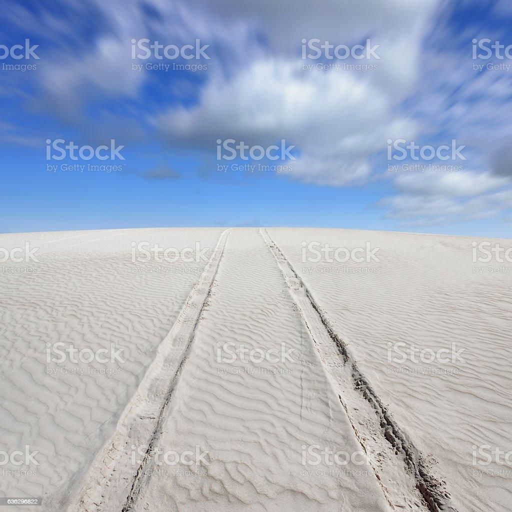 Tyre Track in Desert stock photo