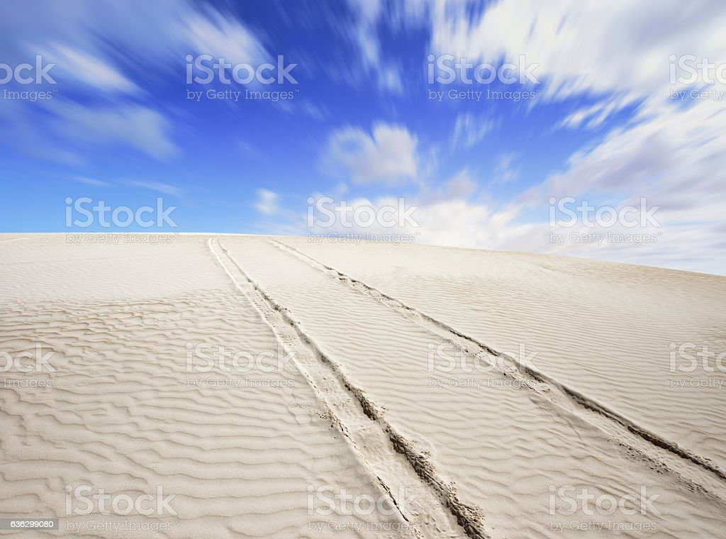 Tyre Track in Desert stock photo