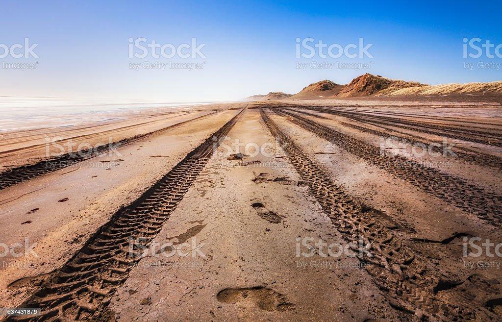 Tyre tracks at Beach stock photo