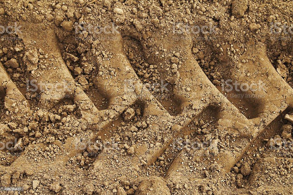 Tyre tracks in mud stock photo