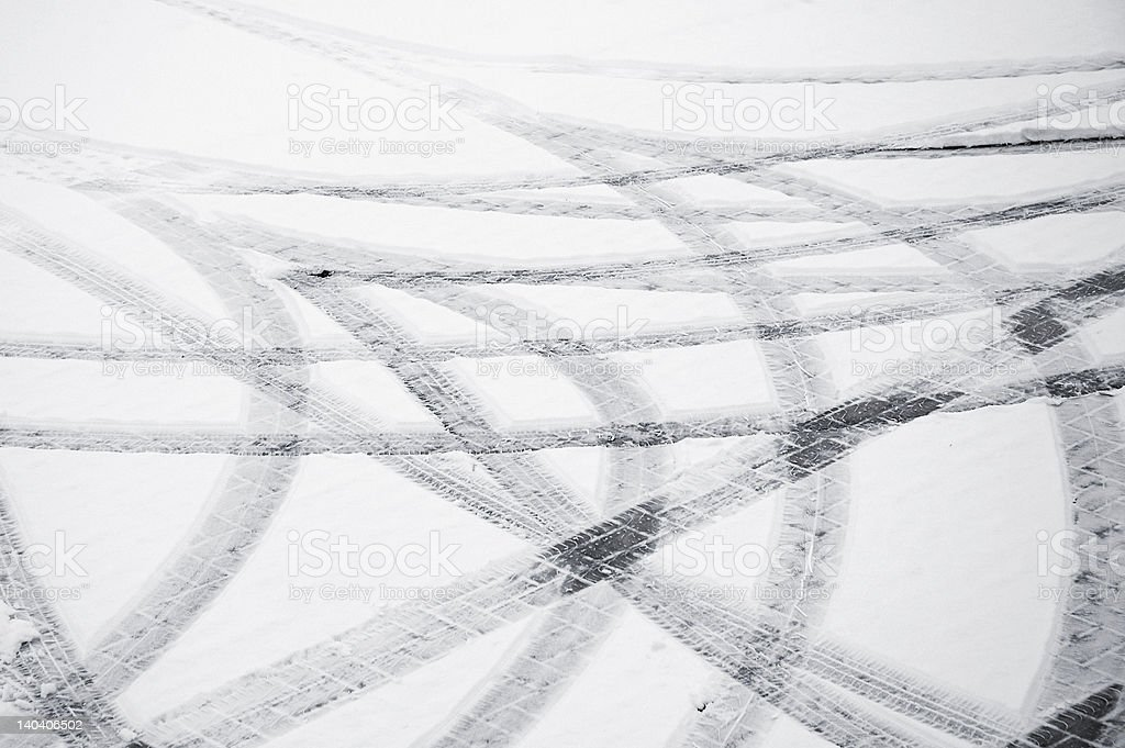Tyre tracks in the snow. royalty-free stock photo
