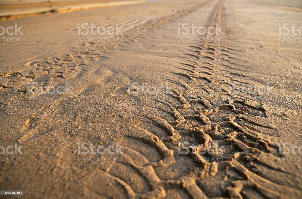 Tyre tracks on a sandy beach stock photo