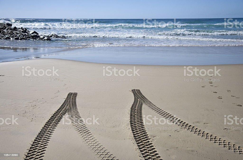 Tyre tracks on beach royalty-free stock photo