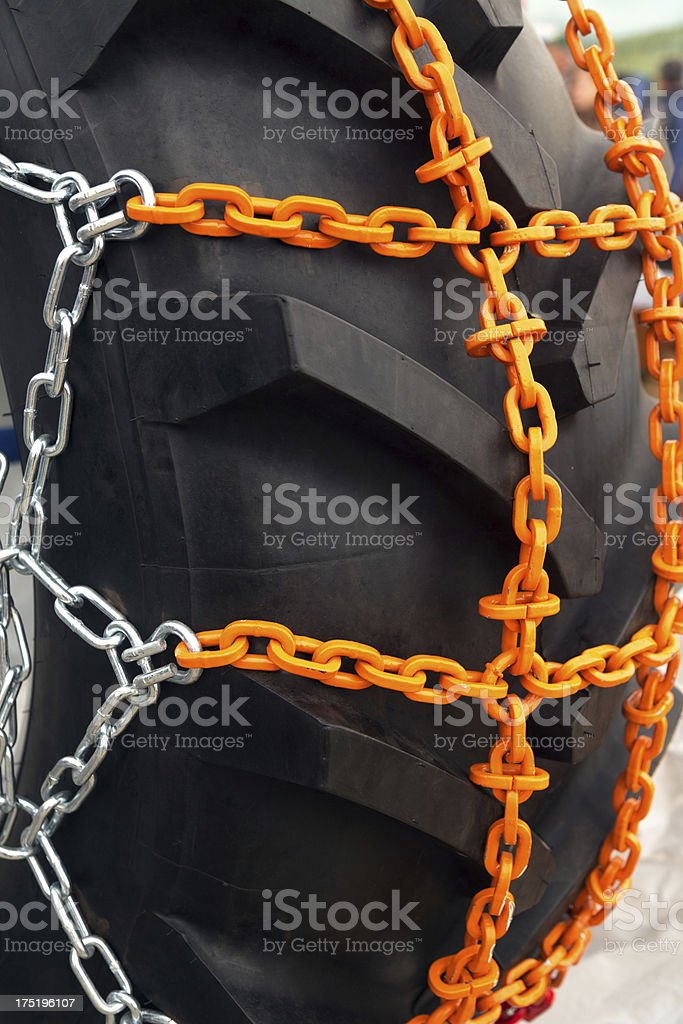 Tyre with chains royalty-free stock photo