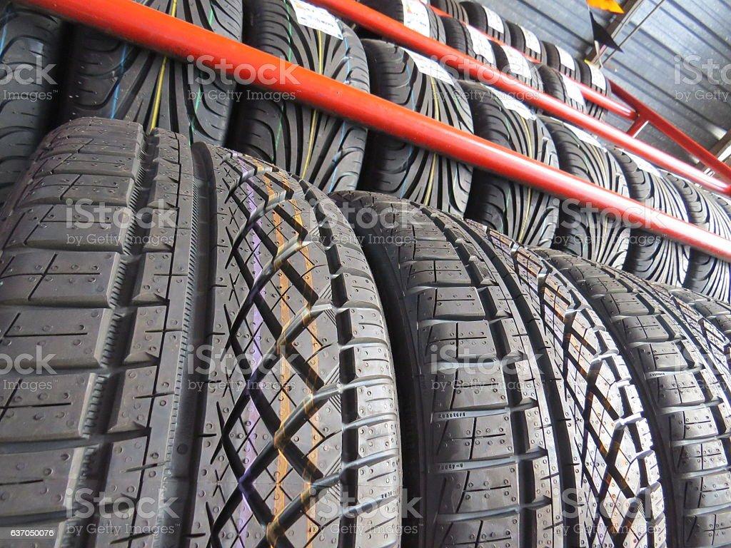 Tyres in row stock photo