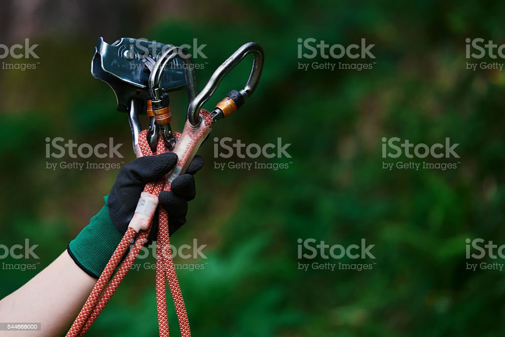 tyrolean traverse equipment stock photo