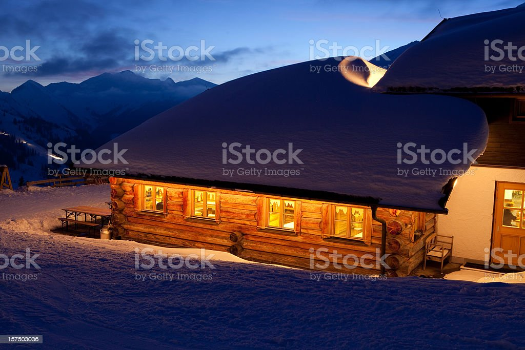 tyrolean winter hut royalty-free stock photo