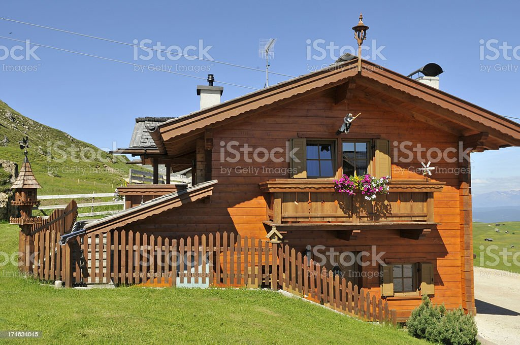 Tyrolean wood house stock photo