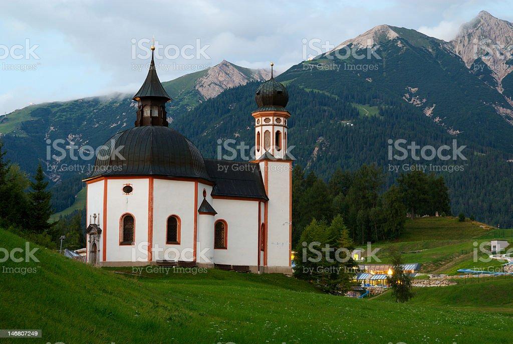 Tyrolian Church, Seefeld, Austria stock photo
