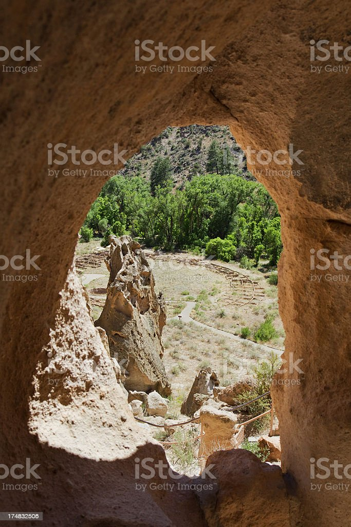 Tyuonyi Pueblo Ruins - Bandelier National Monument royalty-free stock photo