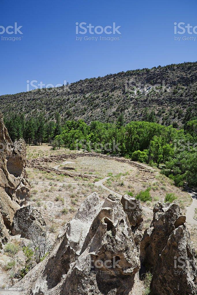 Tyuonyi Pueblo Ruins - Bandelier National Monument stock photo