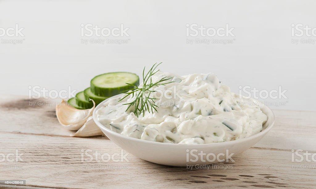 tzatziki Greek yogurt spread stock photo