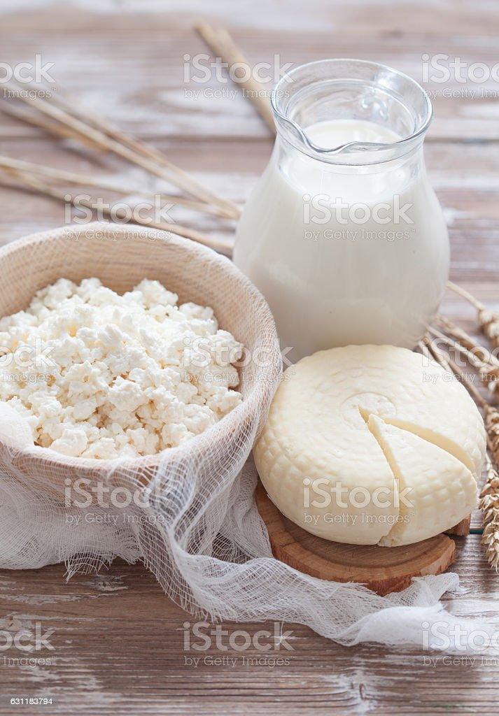 Tzfat cheese, milk, cottage cheese and wheat stock photo