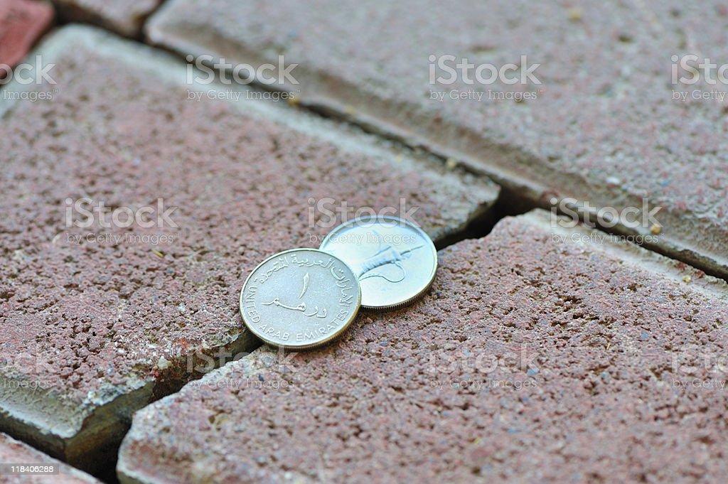 uae coins stock photo