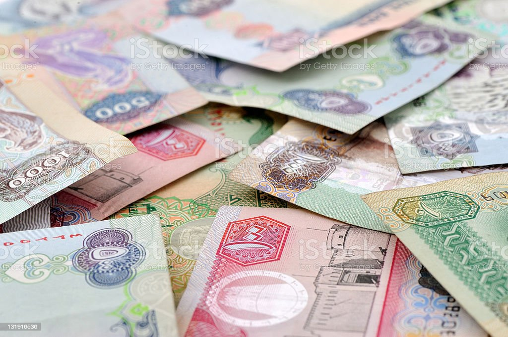 uae currency stock photo
