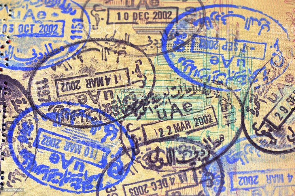 uae immigration stamped royalty-free stock photo