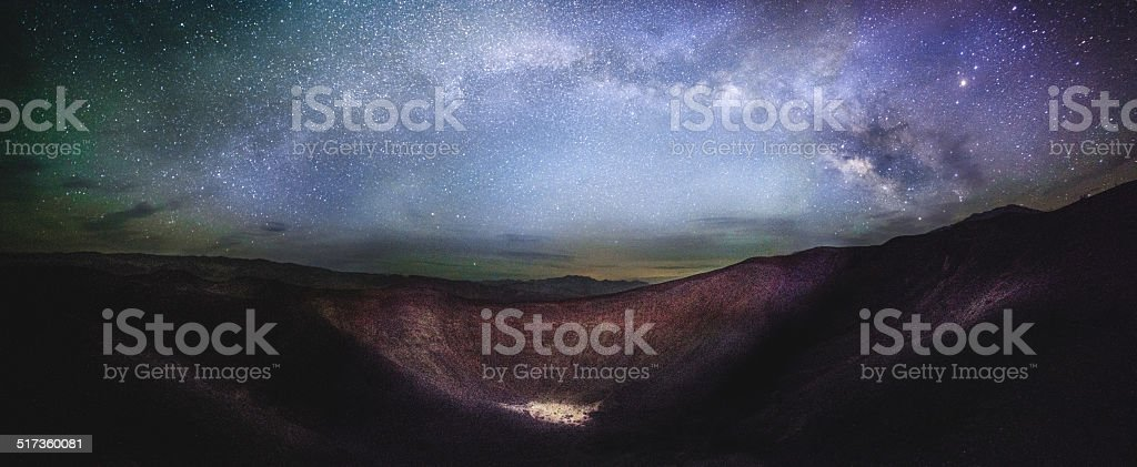 Ubehebe Crater Panorama with Milky Way Panorama stock photo