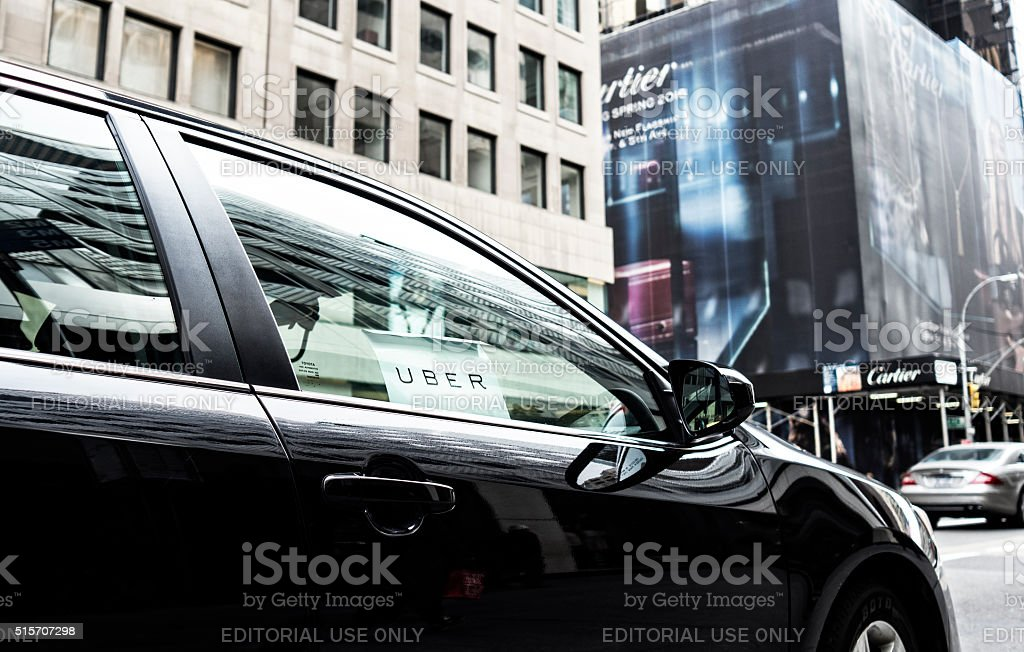 Uber car service in New York City stock photo
