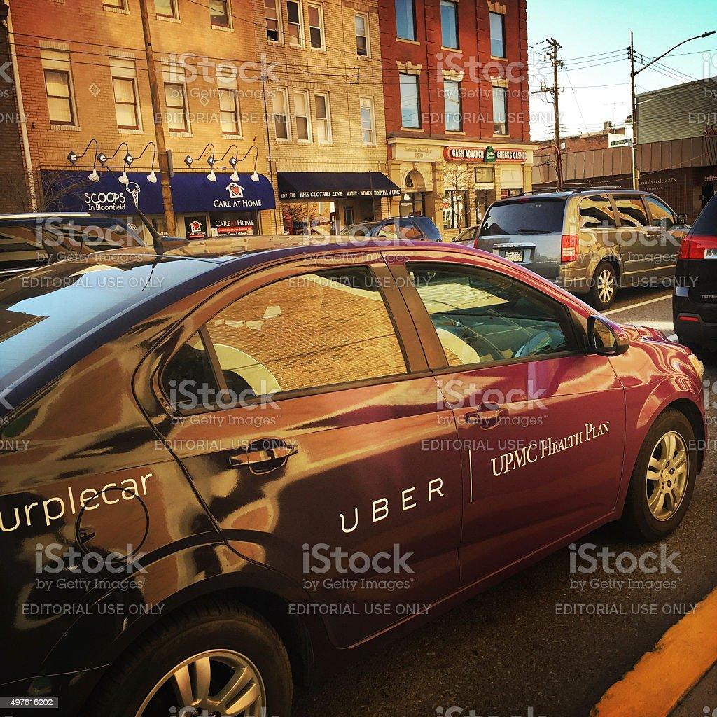 Uber Purple Car in Pittsburgh stock photo