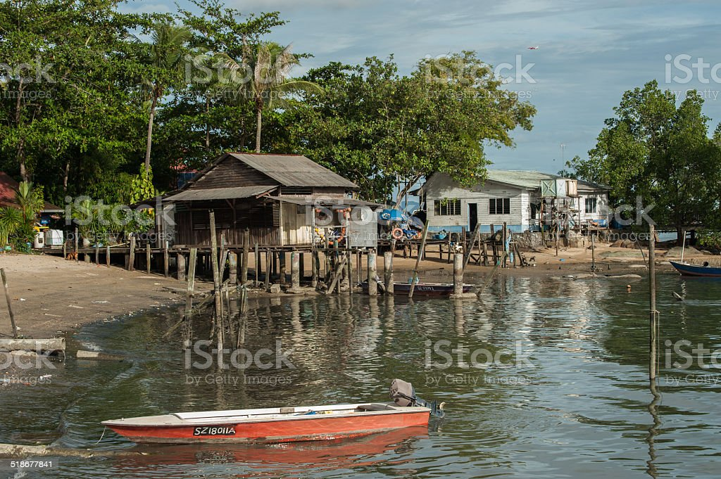 Ubin town view from the sea stock photo