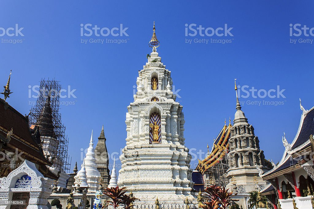 Ubosot And Chedi in Wat Ban Den, Thai Temple royalty-free stock photo