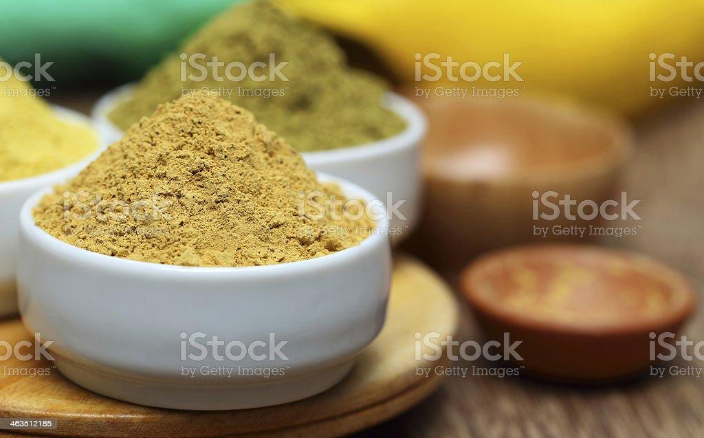 Ubtan powder on bowl stock photo