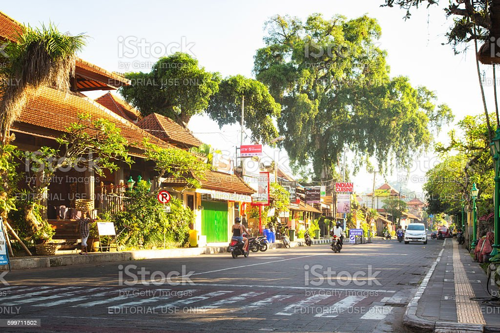 Ubud Bali Indonesia street view daytime stock photo