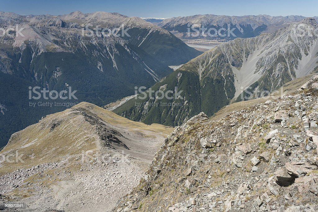 uccession of mountain ridges in Arthur's Pass National Park royalty-free stock photo
