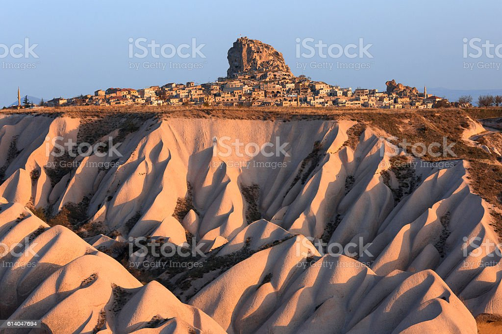 Uchisar Castle in Cappadocia. stock photo