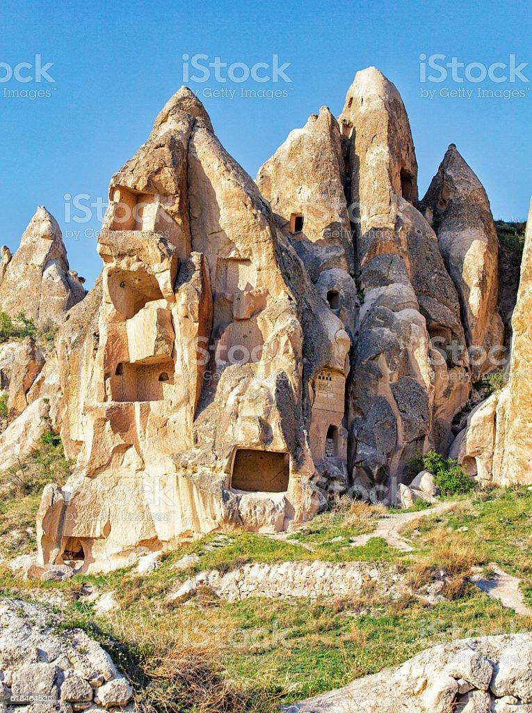 Uchisar Castle in Cappadocia, Turkey stock photo