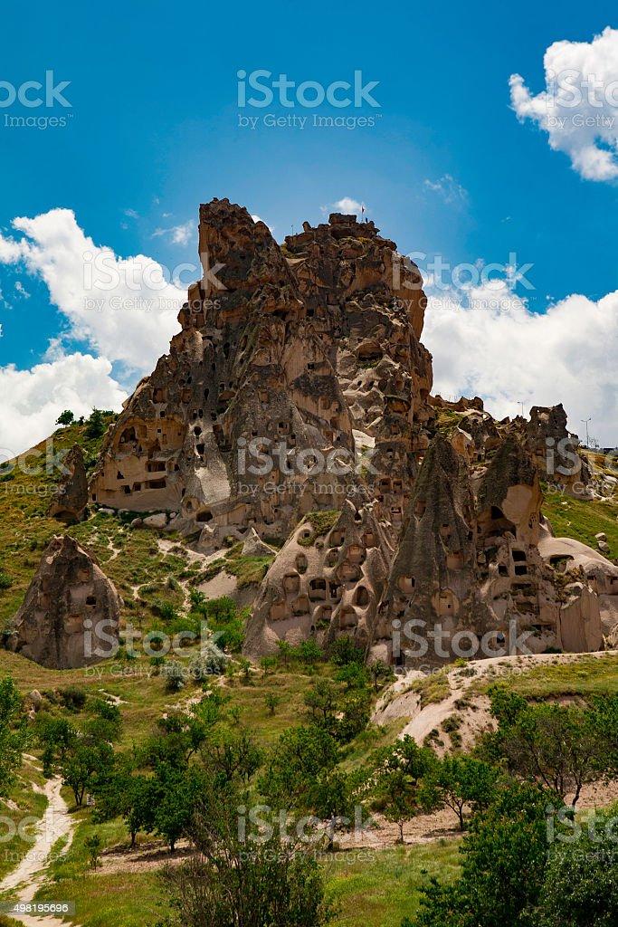 Uchisar Castle stock photo