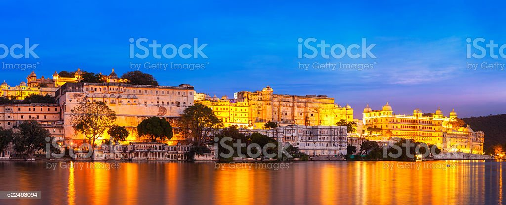 Udaipur City Palace in the evening panoramic view. Udaipur, Indi stock photo