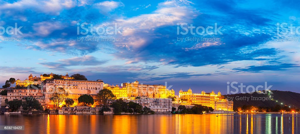 Udaipur City Palace in the evening. Rajasthan, India stock photo