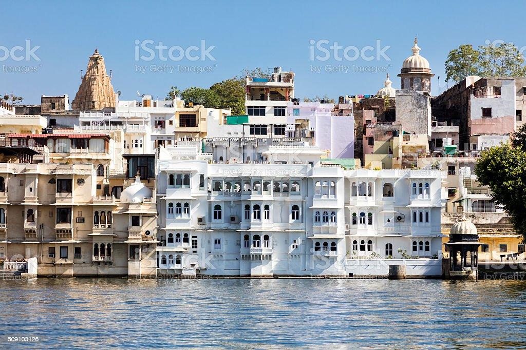 Udaipur in Rajasthan, Lake Pichola, India stock photo