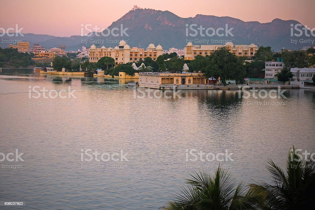 Udaipur in twilight in early winter stock photo